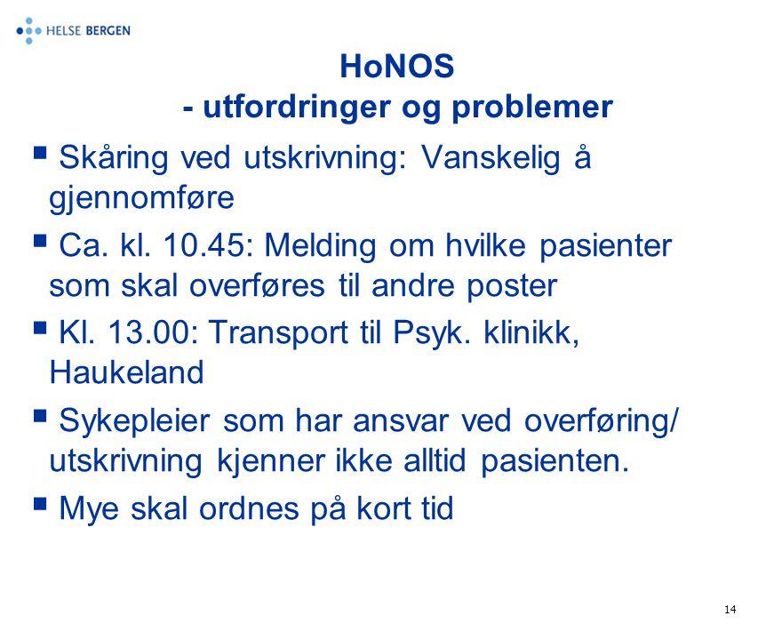 14 HoNOS - utfordringer og problemer  Skåring ved utskrivning: Vanskelig å gjennomføre  Ca. kl. 10.45: Melding om hvilke pasienter som skal overføre
