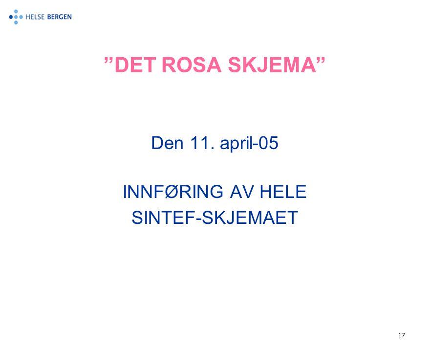 """17 """"DET ROSA SKJEMA"""" Den 11. april-05 INNFØRING AV HELE SINTEF-SKJEMAET"""