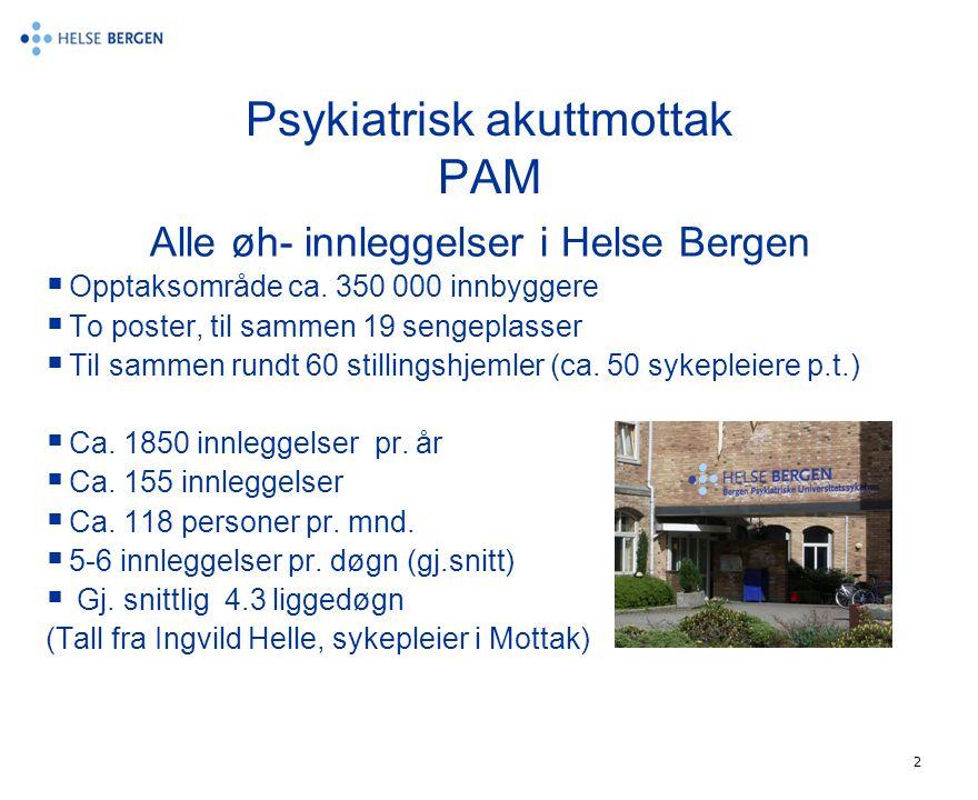 2 Psykiatrisk akuttmottak PAM Alle øh- innleggelser i Helse Bergen  Opptaksområde ca. 350 000 innbyggere  To poster, til sammen 19 sengeplasser  Ti