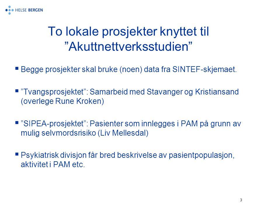 """3 To lokale prosjekter knyttet til """"Akuttnettverksstudien""""  Begge prosjekter skal bruke (noen) data fra SINTEF-skjemaet.  """"Tvangsprosjektet"""": Samarb"""
