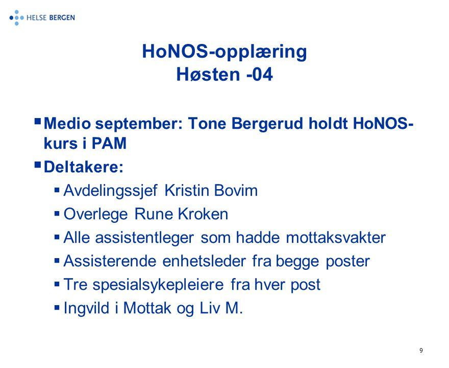 9 HoNOS-opplæring Høsten -04  Medio september: Tone Bergerud holdt HoNOS- kurs i PAM  Deltakere:  Avdelingssjef Kristin Bovim  Overlege Rune Kroke