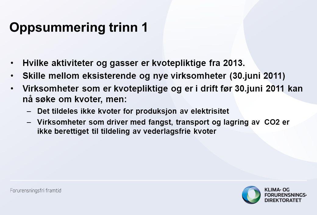 Oppsummering trinn 1 •Hvilke aktiviteter og gasser er kvotepliktige fra 2013. •Skille mellom eksisterende og nye virksomheter (30.juni 2011) •Virksomh