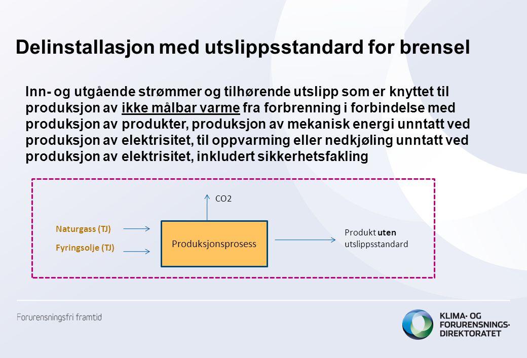Delinstallasjon med utslippsstandard for brensel Produksjonsprosess Produkt uten utslippsstandard CO2 Naturgass (TJ) Fyringsolje (TJ) Inn- og utgående