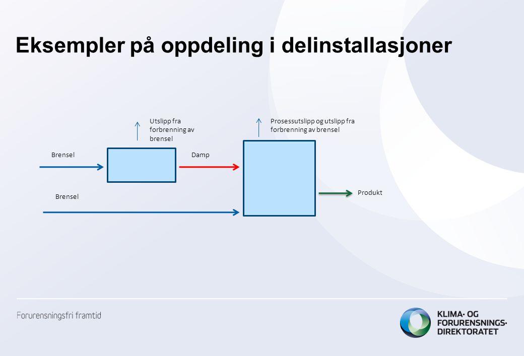 Eksempler på oppdeling i delinstallasjoner BrenselDamp Produkt Utslipp fra forbrenning av brensel Brensel Prosessutslipp og utslipp fra forbrenning av