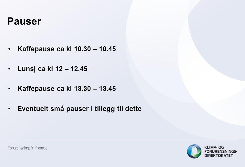 Pauser •Kaffepause ca kl 10.30 – 10.45 •Lunsj ca kl 12 – 12.45 •Kaffepause ca kl 13.30 – 13.45 •Eventuelt små pauser i tillegg til dette
