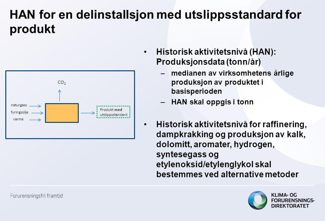 HAN for en delinstallsjon med utslippsstandard for produkt •Historisk aktivitetsnivå (HAN): Produksjonsdata (tonn/år) –medianen av virksomhetens årlig