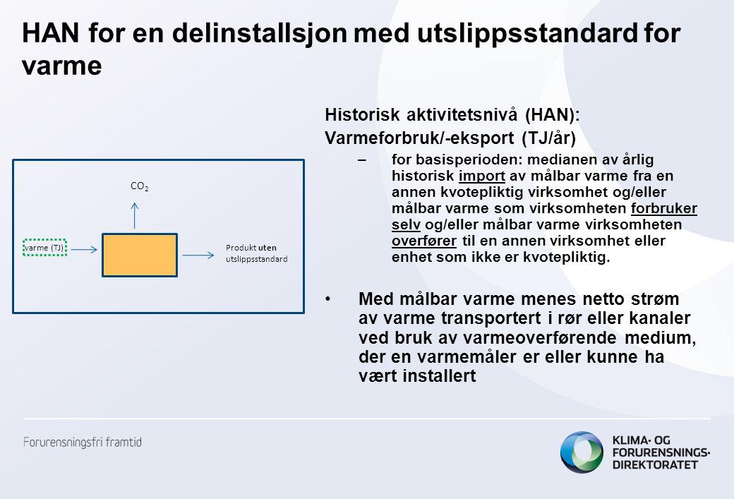 HAN for en delinstallsjon med utslippsstandard for varme Historisk aktivitetsnivå (HAN): Varmeforbruk/-eksport (TJ/år) –for basisperioden: medianen av