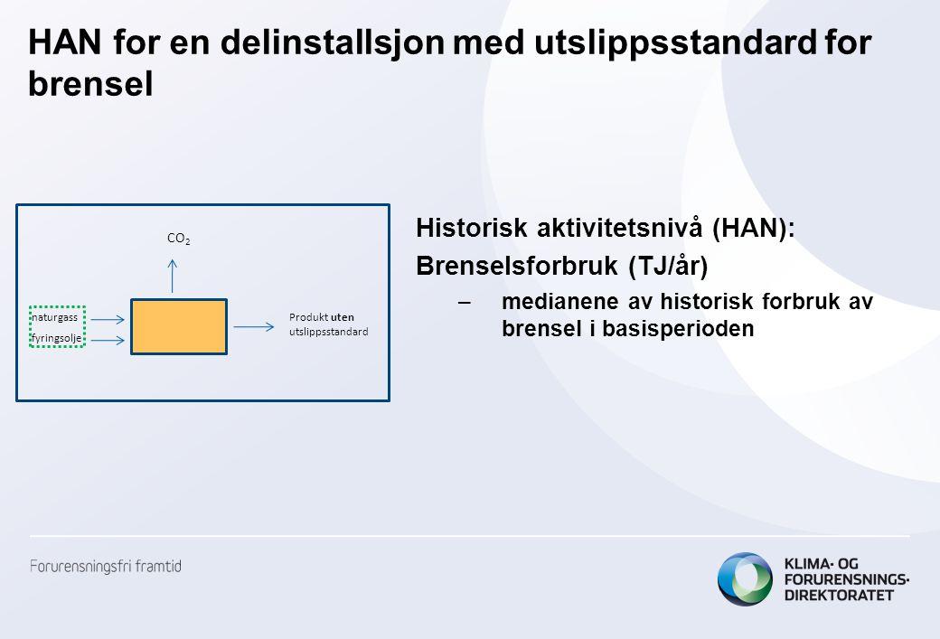 HAN for en delinstallsjon med utslippsstandard for brensel Historisk aktivitetsnivå (HAN): Brenselsforbruk (TJ/år) –medianene av historisk forbruk av