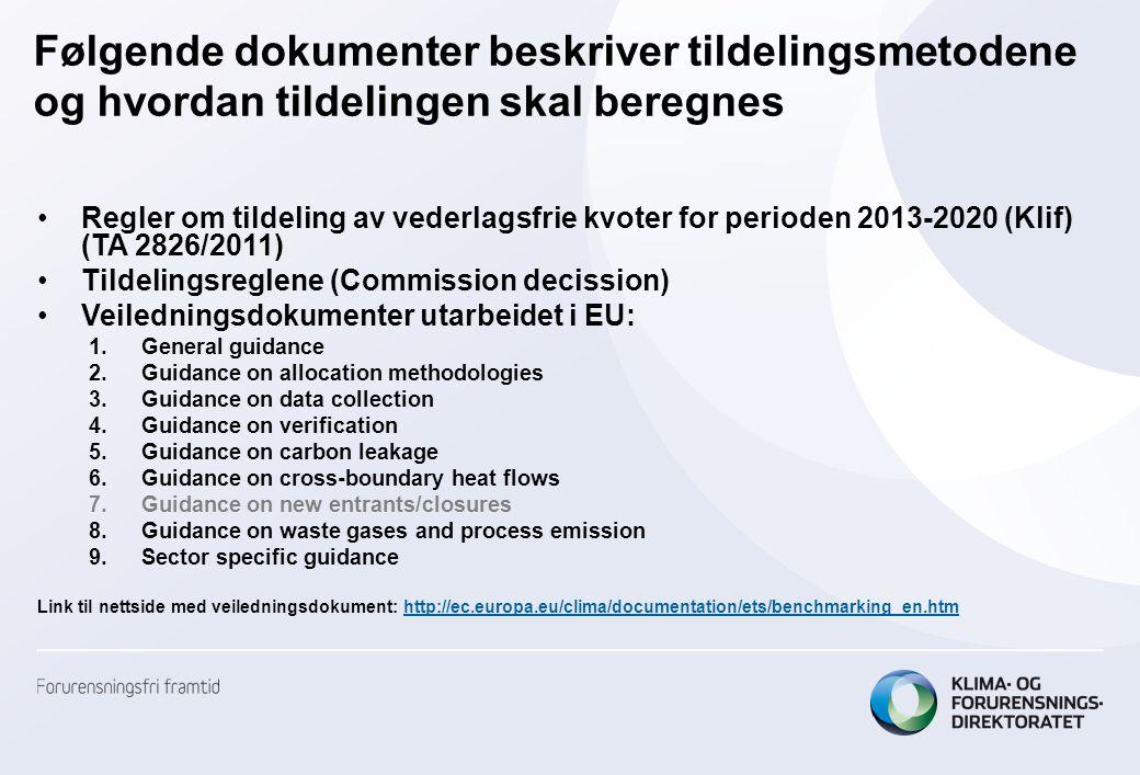 Karbonlekkasje •Virksomheter som ikke er utsatt for karbonlekkasje vil få en nedtrappet tildeling i perioden 2013-2020; –80% i 2013, lineært redusert til 30% i 2020.