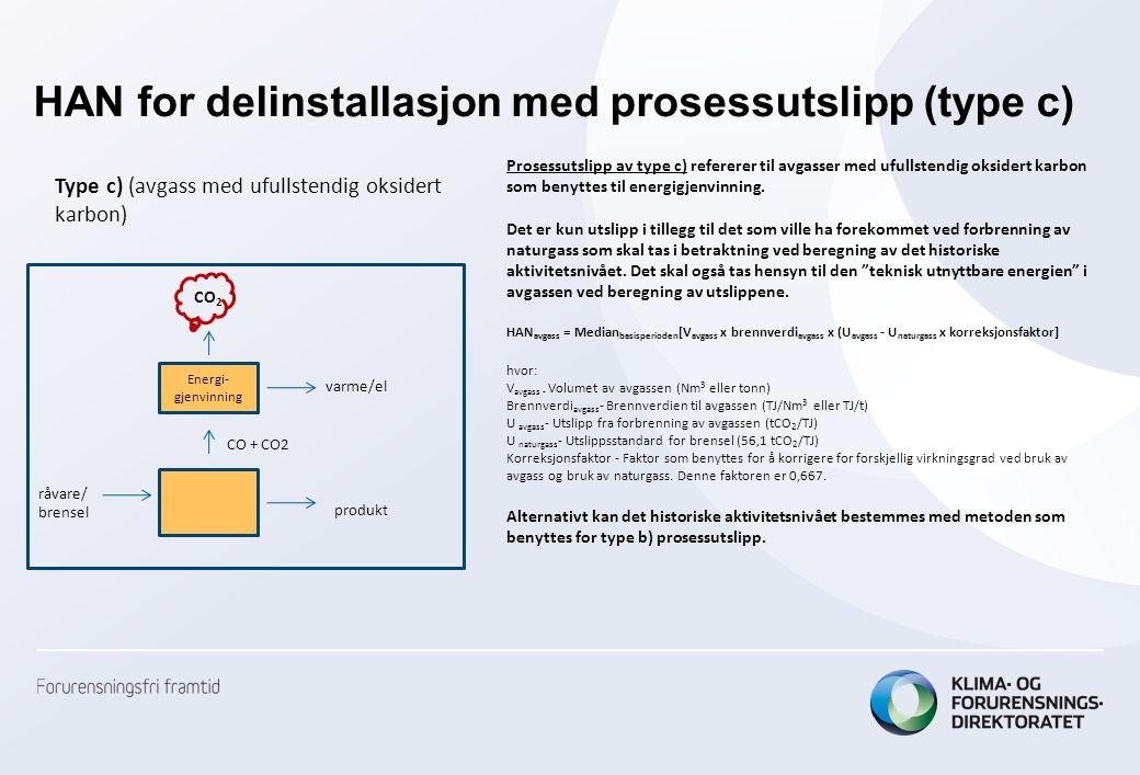 HAN for delinstallasjon med prosessutslipp (type c) Prosessutslipp av type c) refererer til avgasser med ufullstendig oksidert karbon som benyttes til