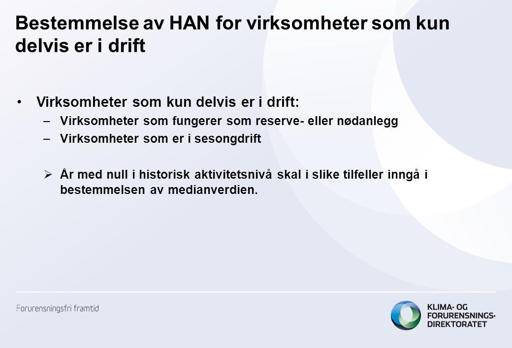 Bestemmelse av HAN for virksomheter som kun delvis er i drift •Virksomheter som kun delvis er i drift: –Virksomheter som fungerer som reserve- eller n
