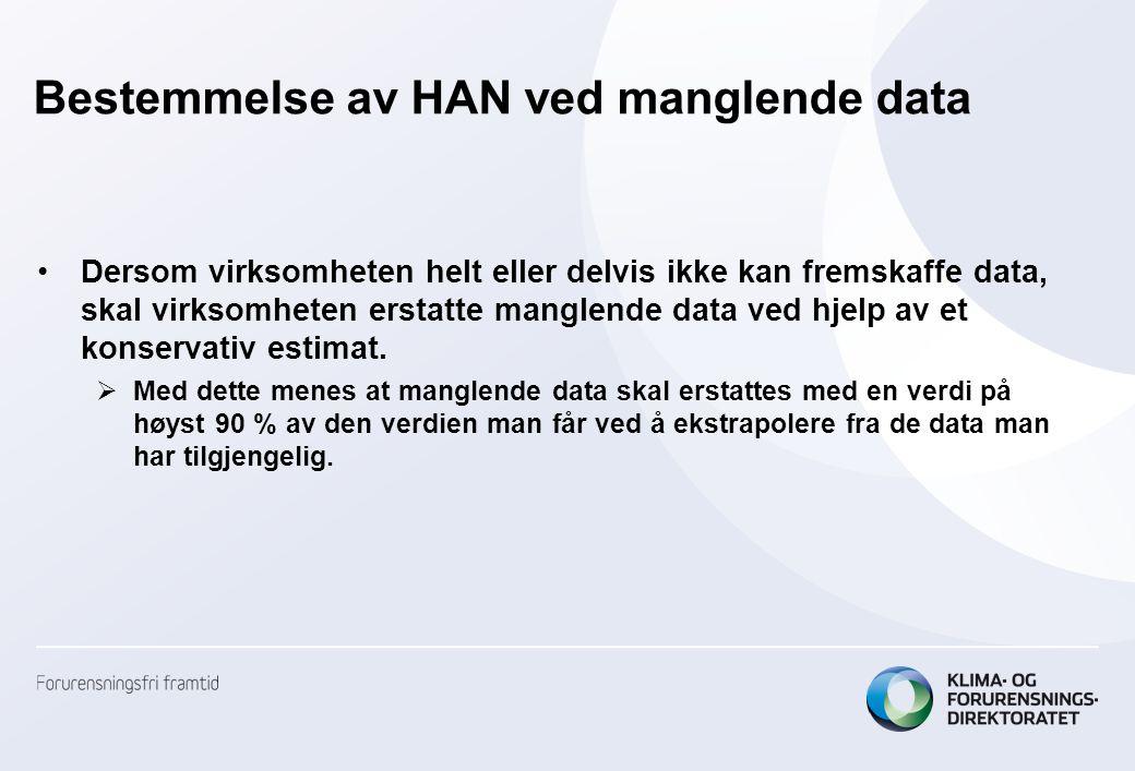 Bestemmelse av HAN ved manglende data •Dersom virksomheten helt eller delvis ikke kan fremskaffe data, skal virksomheten erstatte manglende data ved h