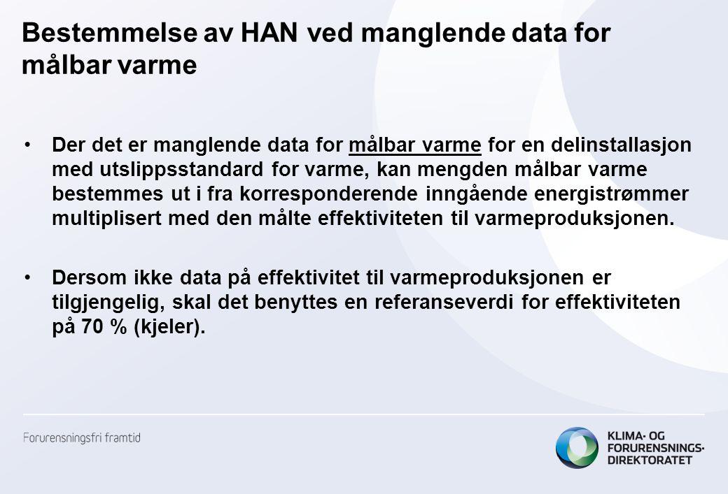 Bestemmelse av HAN ved manglende data for målbar varme •Der det er manglende data for målbar varme for en delinstallasjon med utslippsstandard for var