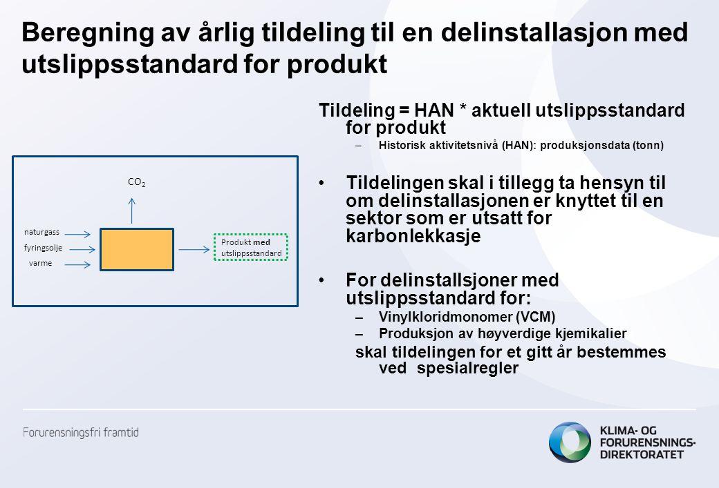 Beregning av årlig tildeling til en delinstallasjon med utslippsstandard for produkt Tildeling = HAN * aktuell utslippsstandard for produkt –Historisk