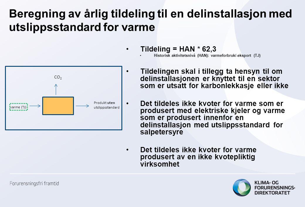 Beregning av årlig tildeling til en delinstallasjon med utslippsstandard for varme •Tildeling = HAN * 62,3 •Historisk aktivitetsnivå (HAN): varmeforbr