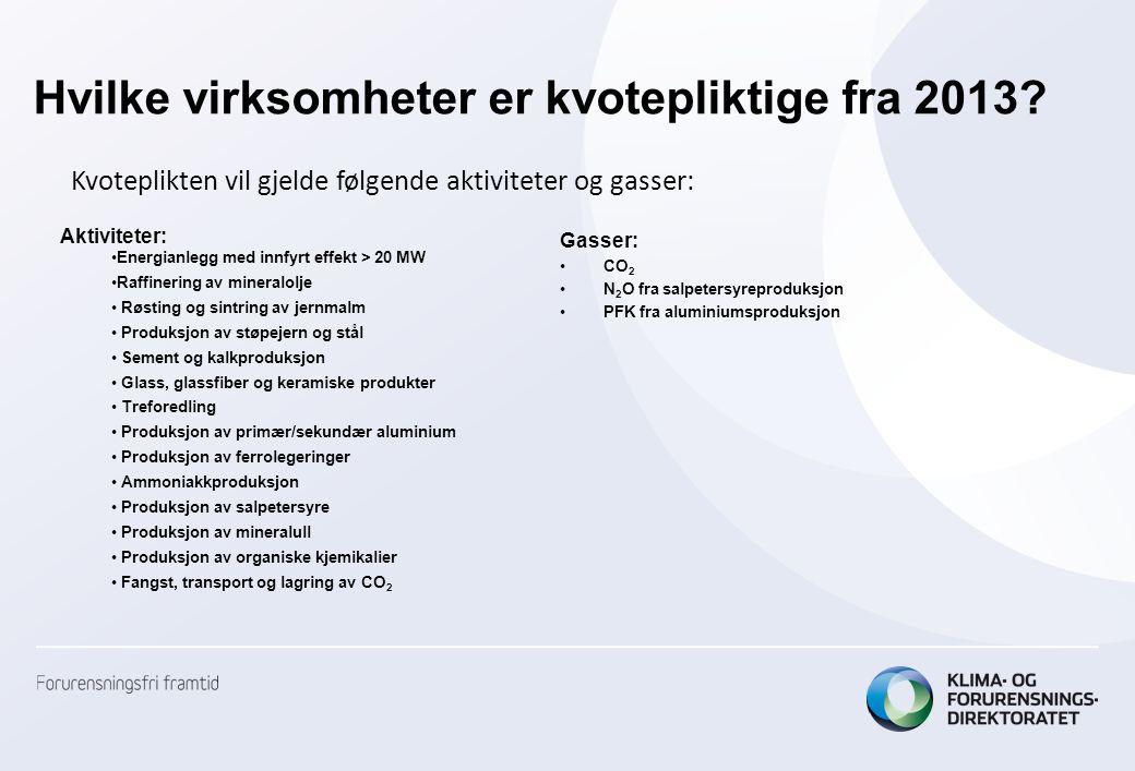 Hvilke virksomheter er kvotepliktige fra 2013? Gasser: •CO 2 •N 2 O fra salpetersyreproduksjon •PFK fra aluminiumsproduksjon Kvoteplikten vil gjelde f