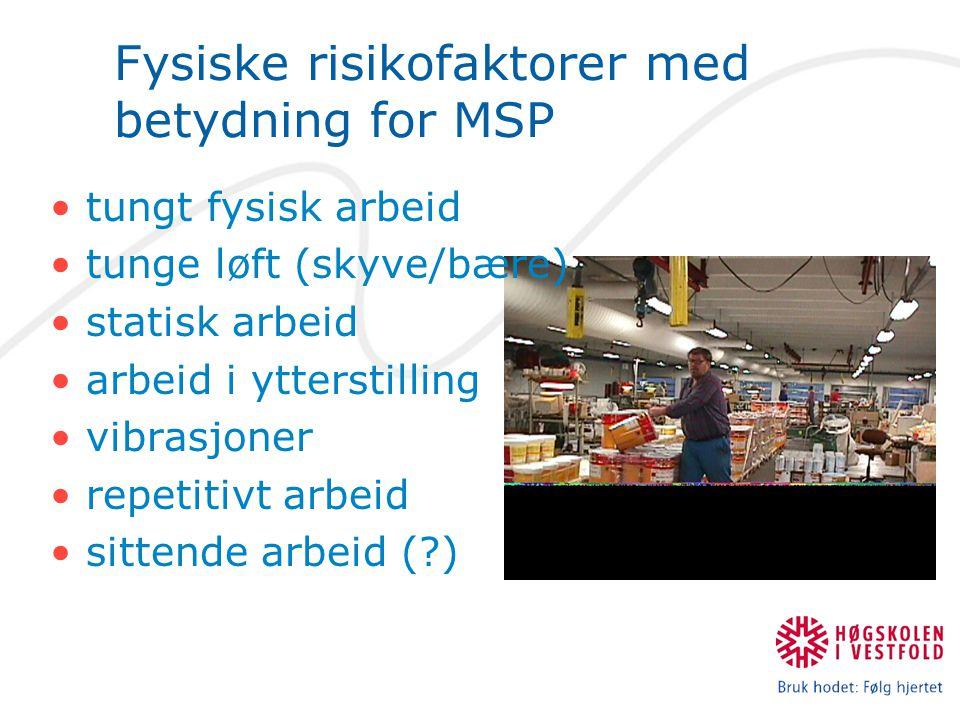 Fysiske risikofaktorer med betydning for MSP •tungt fysisk arbeid •tunge løft (skyve/bære) •statisk arbeid •arbeid i ytterstilling •vibrasjoner •repet
