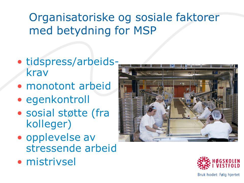 Organisatoriske og sosiale faktorer med betydning for MSP •tidspress/arbeids- krav •monotont arbeid •egenkontroll •sosial støtte (fra kolleger) •opple