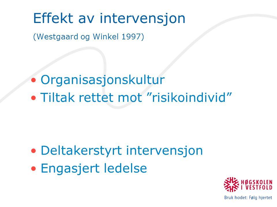 """Effekt av intervensjon (Westgaard og Winkel 1997) •Organisasjonskultur •Tiltak rettet mot """"risikoindivid"""" •Deltakerstyrt intervensjon •Engasjert ledel"""