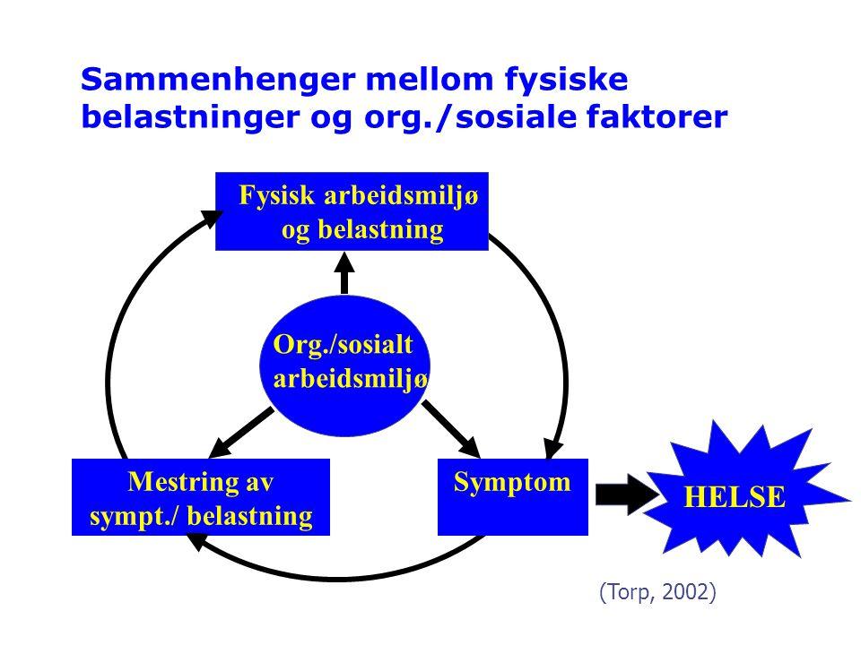 Sammenhenger mellom fysiske belastninger og org./sosiale faktorer Org./sosialt arbeidsmiljø SymptomMestring av sympt./ belastning Fysisk arbeidsmiljø