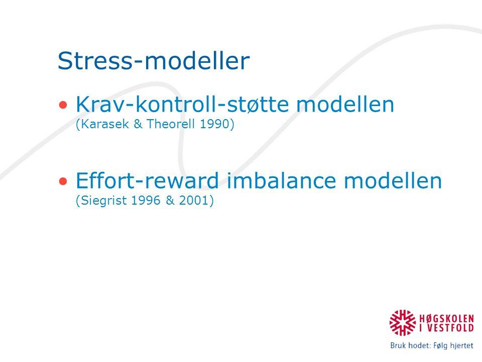 Stress-modeller •Krav-kontroll-støtte modellen (Karasek & Theorell 1990) •Effort-reward imbalance modellen (Siegrist 1996 & 2001)