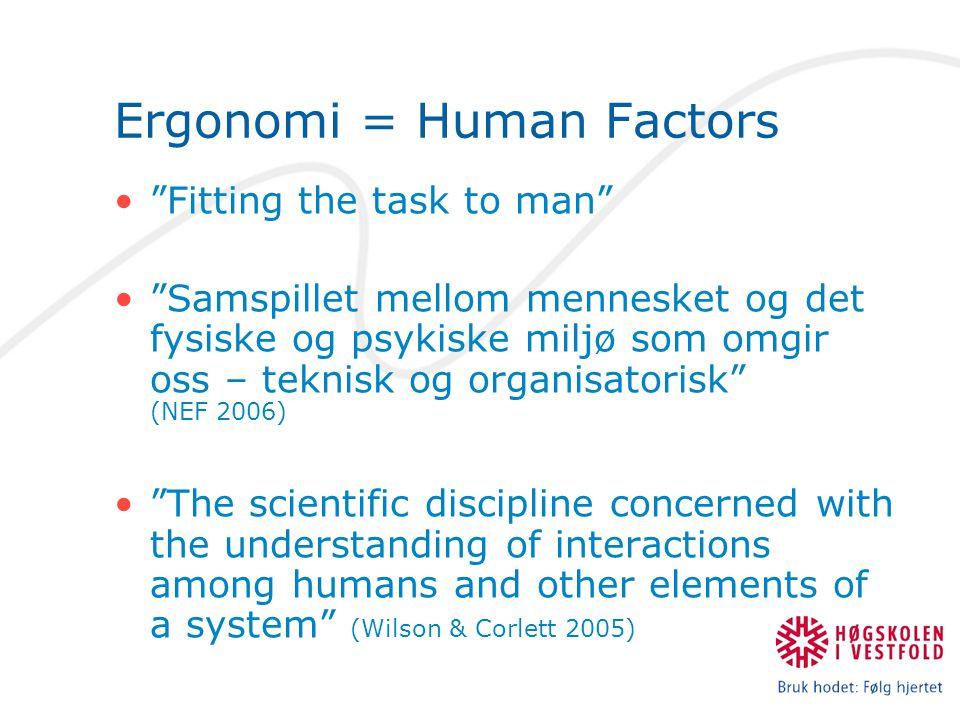 "Ergonomi = Human Factors •""Fitting the task to man"" •""Samspillet mellom mennesket og det fysiske og psykiske miljø som omgir oss – teknisk og organisa"