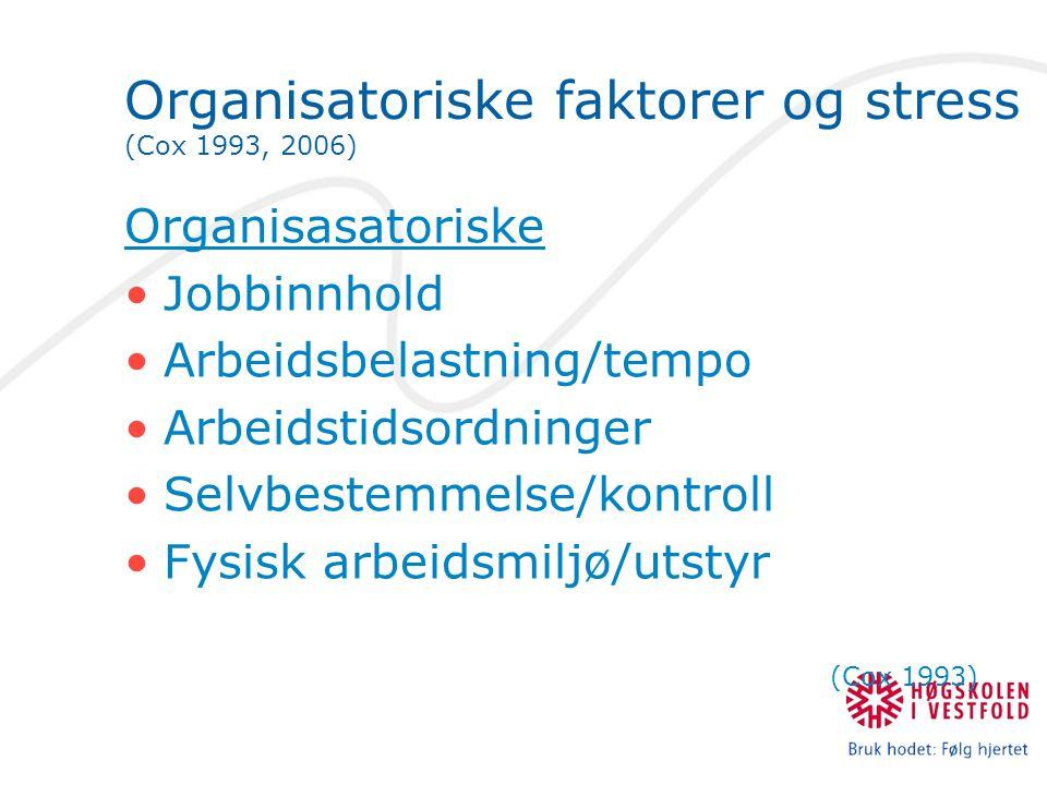 Organisatoriske faktorer og stress (Cox 1993, 2006) Organisasatoriske •Jobbinnhold •Arbeidsbelastning/tempo •Arbeidstidsordninger •Selvbestemmelse/kon