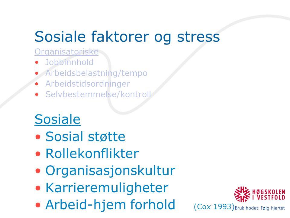 Sosiale faktorer og stress Organisatoriske •Jobbinnhold •Arbeidsbelastning/tempo •Arbeidstidsordninger •Selvbestemmelse/kontroll Sosiale •Sosial støtt