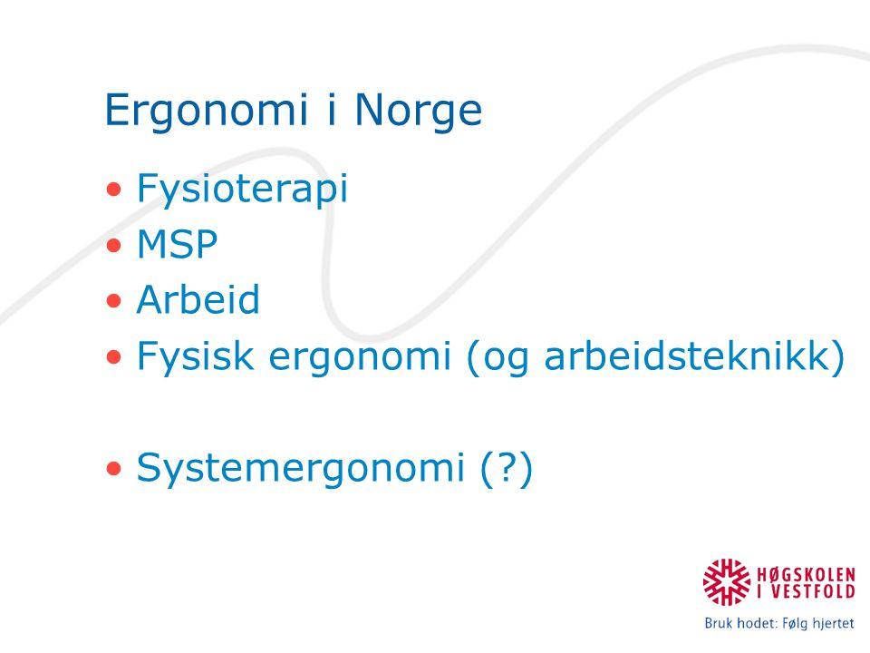 Ergonomi i Norge •Fysioterapi •MSP •Arbeid •Fysisk ergonomi (og arbeidsteknikk) •Systemergonomi (?)