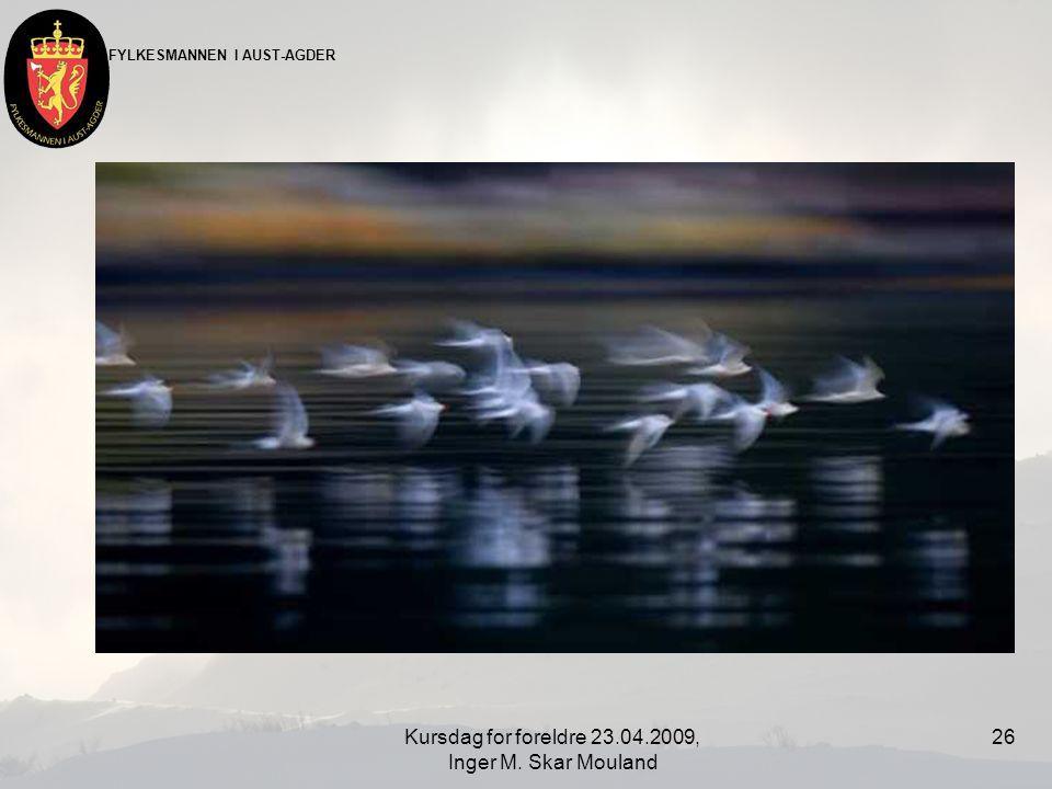 FYLKESMANNEN I AUST-AGDER Kursdag for foreldre 23.04.2009, Inger M. Skar Mouland 26