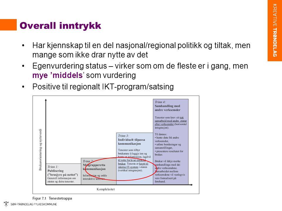 Overall inntrykk •Har kjennskap til en del nasjonal/regional politikk og tiltak, men mange som ikke drar nytte av det •Egenvurdering status – virker som om de fleste er i gang, men mye 'middels' som vurdering •Positive til regionalt IKT-program/satsing