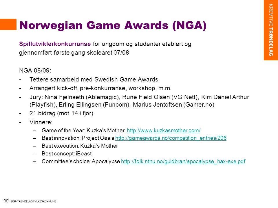 Norwegian Game Awards (NGA) Spillutviklerkonkurranse for ungdom og studenter etablert og gjennomført første gang skoleåret 07/08 NGA 08/09: -Tettere samarbeid med Swedish Game Awards -Arrangert kick-off, pre-konkurranse, workshop, m.m.