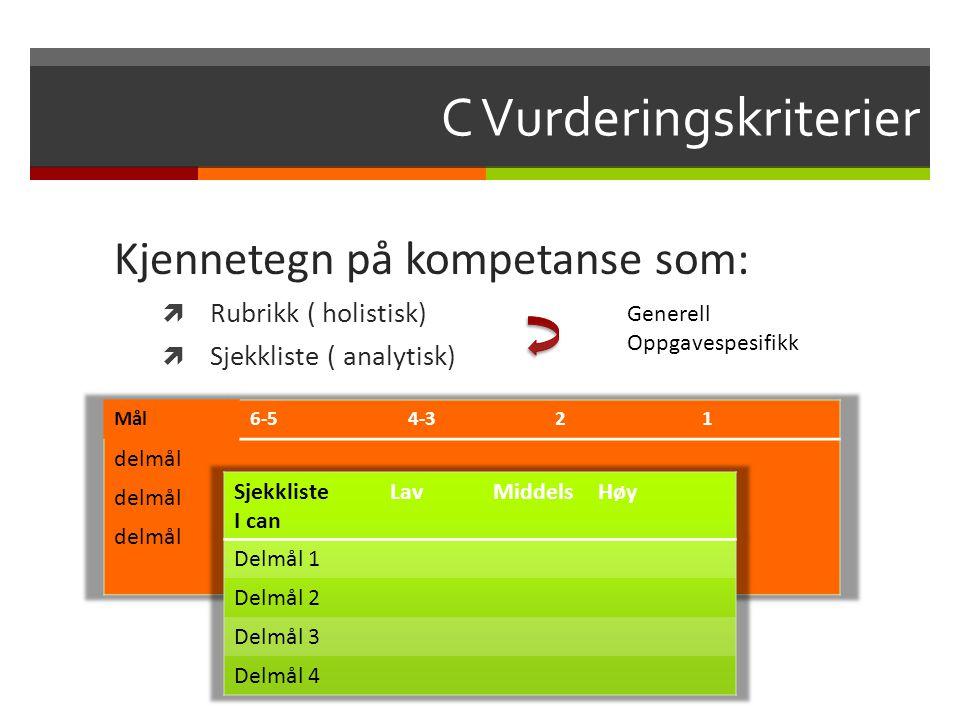 C Vurderingskriterier Kjennetegn på kompetanse som:  Rubrikk ( holistisk)  Sjekkliste ( analytisk) Generell Oppgavespesifikk