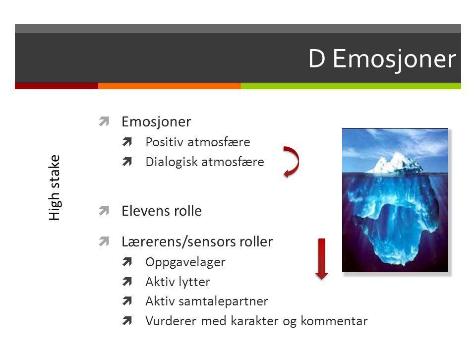 D Emosjoner  Emosjoner  Positiv atmosfære  Dialogisk atmosfære  Elevens rolle  Lærerens/sensors roller  Oppgavelager  Aktiv lytter  Aktiv samt