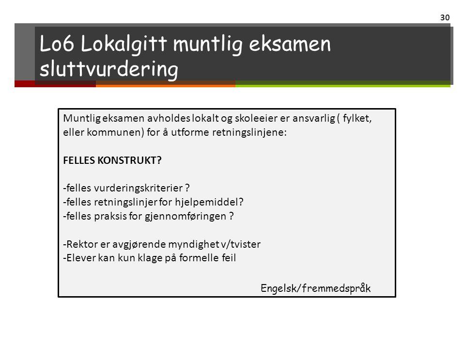 Lo6 Lokalgitt muntlig eksamen sluttvurdering 30 Muntlig eksamen avholdes lokalt og skoleeier er ansvarlig ( fylket, eller kommunen) for å utforme retn