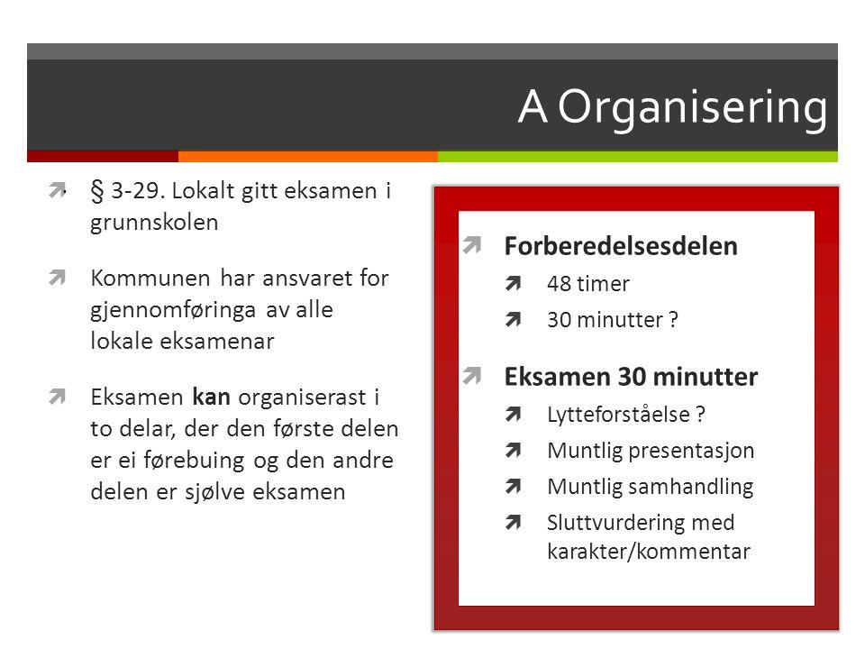 A Organisering  § 3-29. Lokalt gitt eksamen i grunnskolen  Kommunen har ansvaret for gjennomføringa av alle lokale eksamenar  Eksamen kan organiser