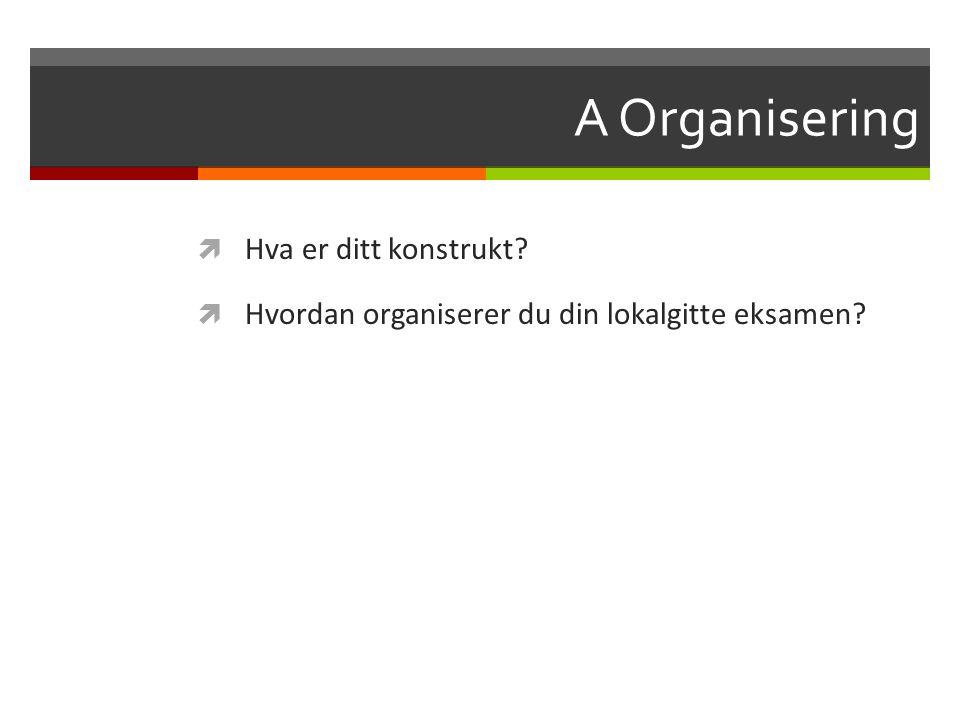 A Organisering  Hva er ditt konstrukt?  Hvordan organiserer du din lokalgitte eksamen?