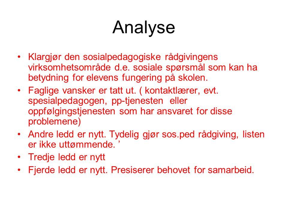 Analyse •Klargjør den sosialpedagogiske rådgivingens virksomhetsområde d.e.