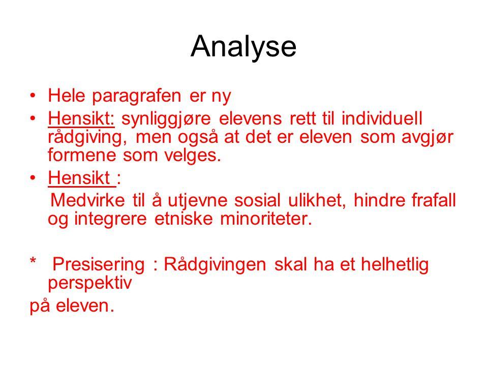 Analyse •Hele paragrafen er ny •Hensikt: synliggjøre elevens rett til individuell rådgiving, men også at det er eleven som avgjør formene som velges.