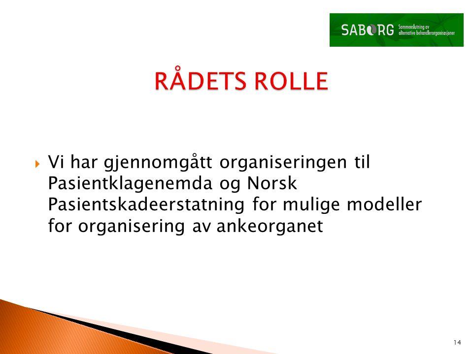  Vi har gjennomgått organiseringen til Pasientklagenemda og Norsk Pasientskadeerstatning for mulige modeller for organisering av ankeorganet 14