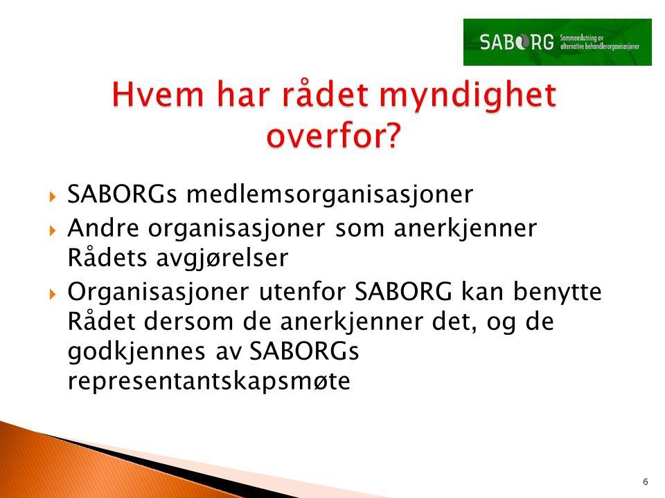  SABORGs medlemsorganisasjoner  Andre organisasjoner som anerkjenner Rådets avgjørelser  Organisasjoner utenfor SABORG kan benytte Rådet dersom de anerkjenner det, og de godkjennes av SABORGs representantskapsmøte 6