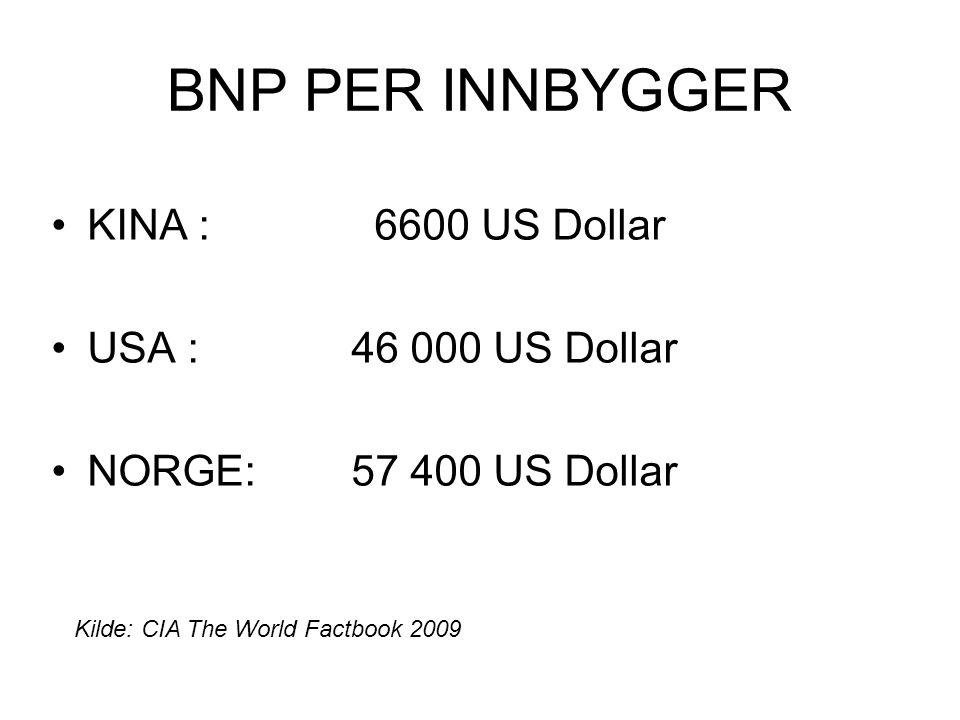 BNP PER INNBYGGER •KINA : 6600 US Dollar •USA : 46 000 US Dollar •NORGE: 57 400 US Dollar Kilde: CIA The World Factbook 2009