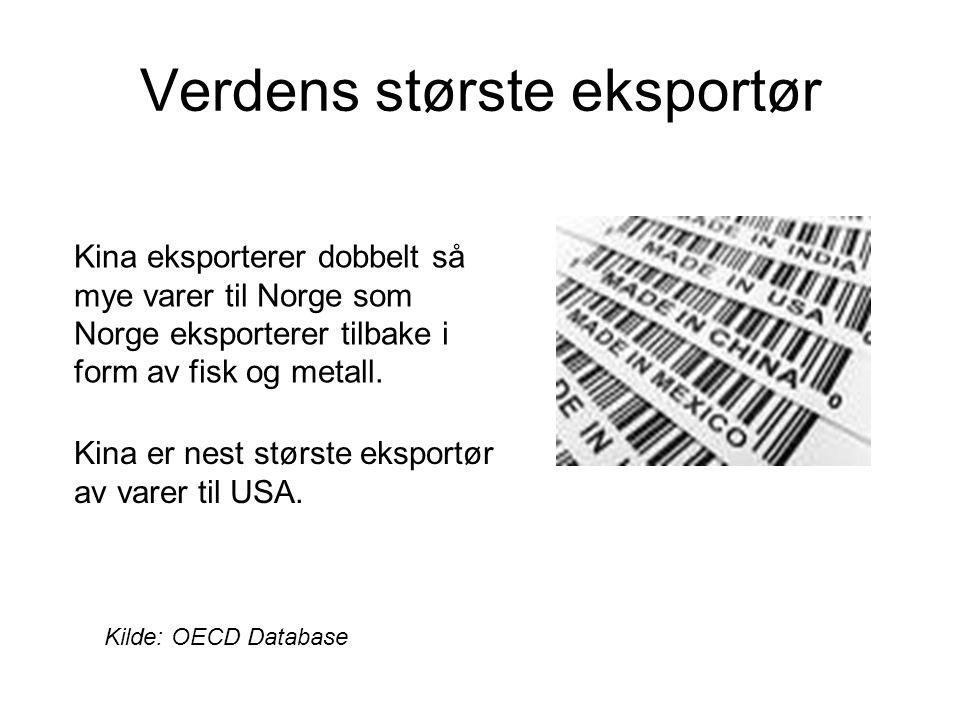 Verdens største eksportør Kilde: OECD Database Kina eksporterer dobbelt så mye varer til Norge som Norge eksporterer tilbake i form av fisk og metall.