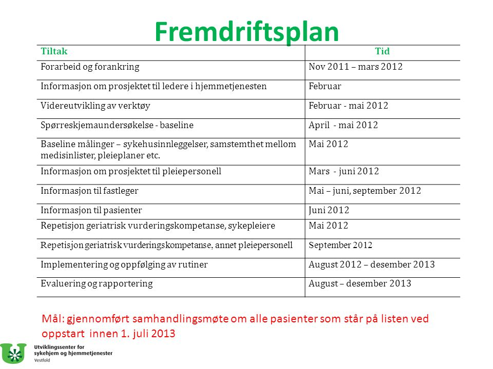 Fremdriftsplan TiltakTid Forarbeid og forankringNov 2011 – mars 2012 Informasjon om prosjektet til ledere i hjemmetjenestenFebruar Videreutvikling av