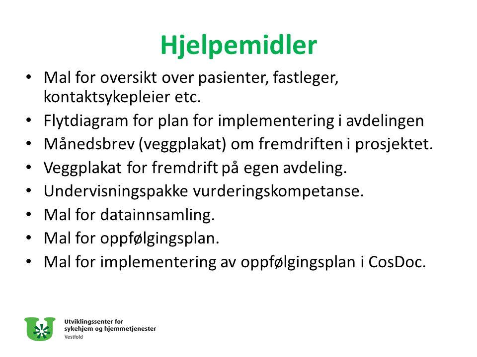Hjelpemidler • Mal for oversikt over pasienter, fastleger, kontaktsykepleier etc. • Flytdiagram for plan for implementering i avdelingen • Månedsbrev