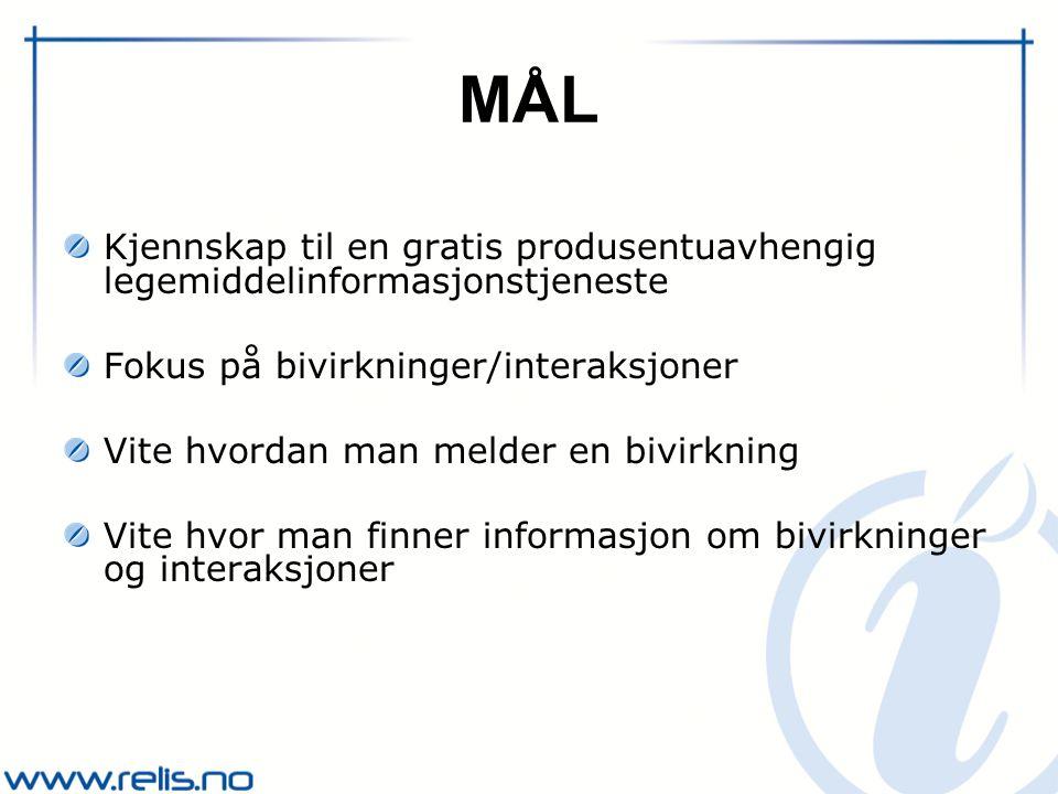 RELIS Regionalt legemiddelinformasjonssenter Offentlig finansiert tjeneste for helsepersonell Finnes i alle helseregionene Gir produsentuavhengig legemiddelinformasjon Svarer på spørsmål om legemidler Terapi, bivirkninger, interaksjoner, graviditet/amming m.m.