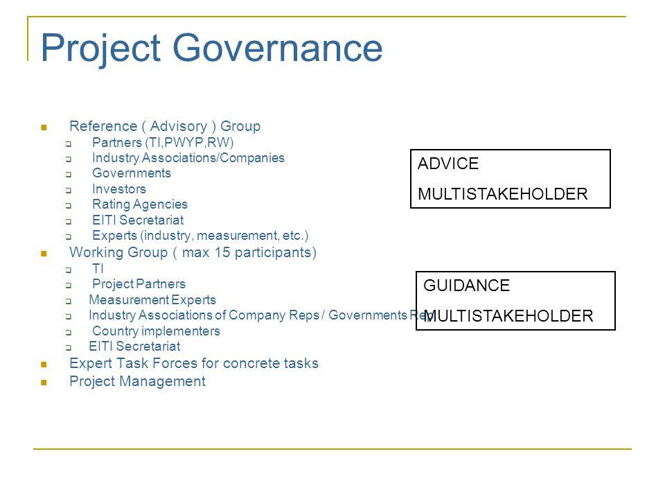 Extractive Industries Transparency Initiative (EITI)  Lansert av Tony Blair i 2002  EITI fastsetter internasjonale og aktørspesifikke åpenhetsstandarder innenfor utvinnings- industrien  Internasjonalt multi-stakeholder initiativ som involverer  Betalere av inntekter (selskaper)  Mottakere av inntekter (myndigheter)  Brukere av informasjon (sivilsamfunnet)  Giverland  IMF, Verdensbanken, EBRD  Investorer