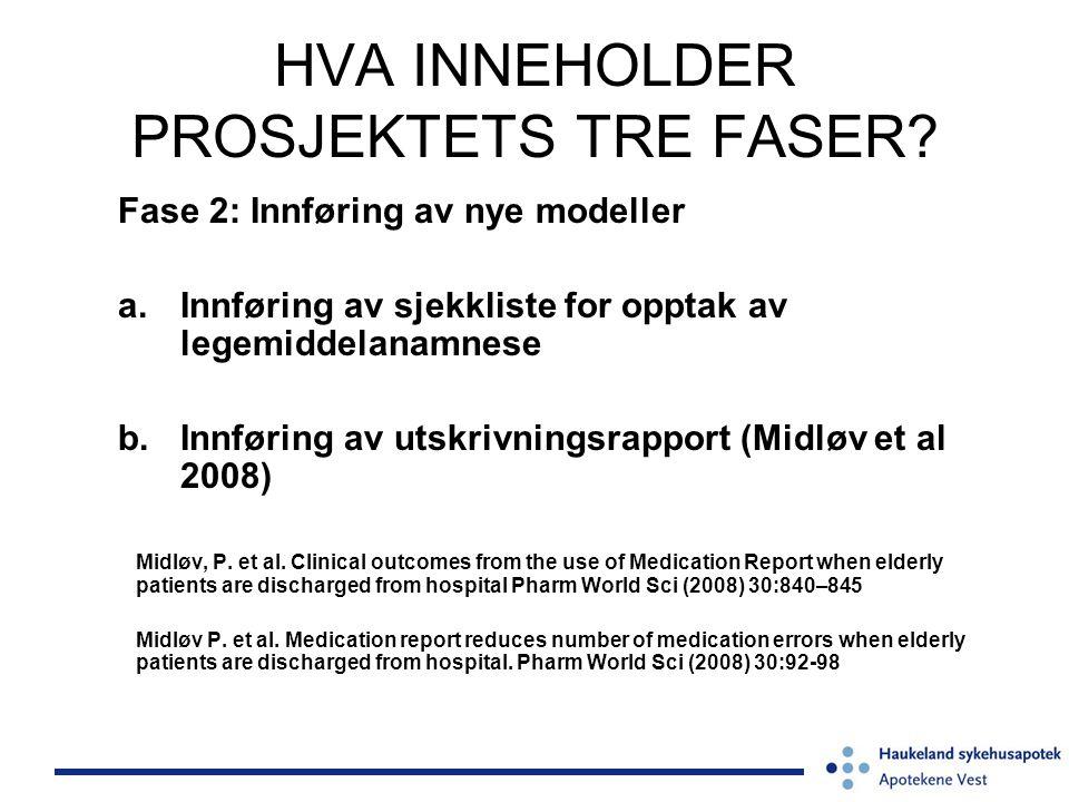 HVA INNEHOLDER PROSJEKTETS TRE FASER? Fase 2: Innføring av nye modeller a.Innføring av sjekkliste for opptak av legemiddelanamnese b.Innføring av utsk