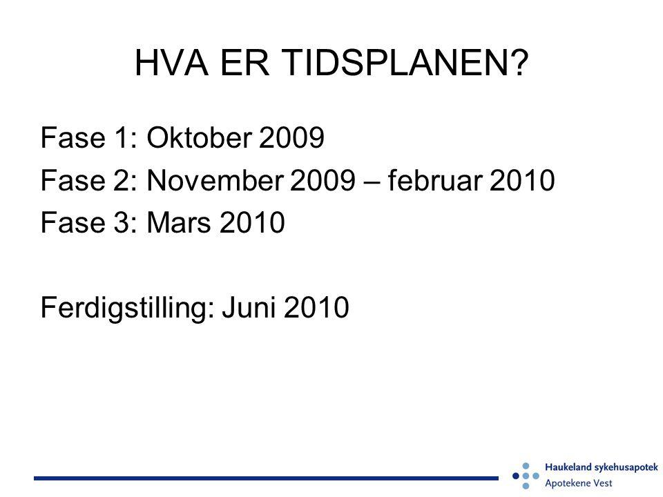 HVA ER TIDSPLANEN? Fase 1: Oktober 2009 Fase 2: November 2009 – februar 2010 Fase 3: Mars 2010 Ferdigstilling: Juni 2010
