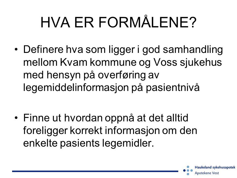 HVA ER FORMÅLENE? •Definere hva som ligger i god samhandling mellom Kvam kommune og Voss sjukehus med hensyn på overføring av legemiddelinformasjon på